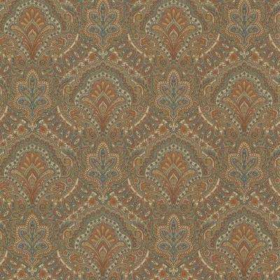 56.4 sq. ft. Cypress Chestnut Paisley Damask Wallpaper
