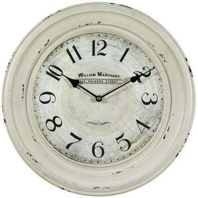 16 in. Circular Iron Wall Clock in Distressed White Frame