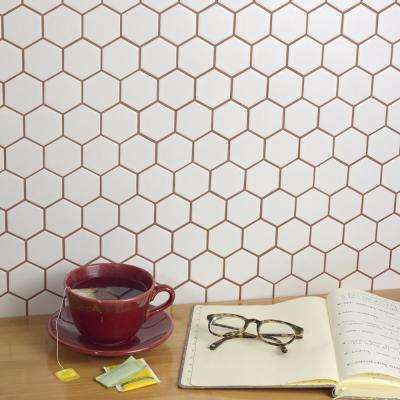 Metro Hex 2 in. Matte White 10-1/2 in. x 11 in. x 6 mm Porcelain Mosaic Tile (8.21 sq. ft. / case)