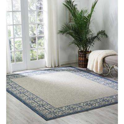 Country Side Ivory Blue 10 ft. x 13 ft. Indoor/Outdoor Area Rug