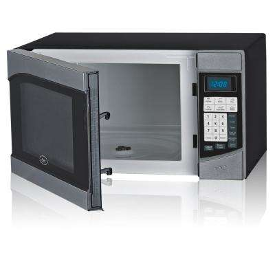 Countertop Microwave Stainless Steel Black .9 cu. Ft. 900-Watt with Push Button