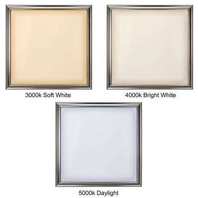 Low Profile 24 in. Square Brushed Nickel LED Flush Mount Ceiling Light Flat Panel 4000 Lumens 3000K 4000K 5000K
