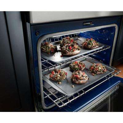 6.7 cu. ft. Double Oven Electric Range with Self-Cleaning Convection Oven in PrintShield Black Stainless
