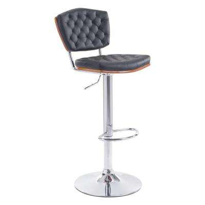 Tiger Adjustable Height Black Cushioned Bar Stool