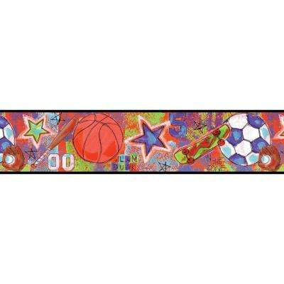 6 in. Sports Star Red Sports Border