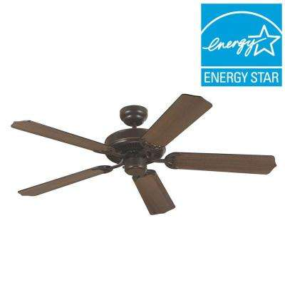 Quality Max 52 in. Heirloom Bronze Ceiling Fan with Ceruse Oak/Ebony Blades