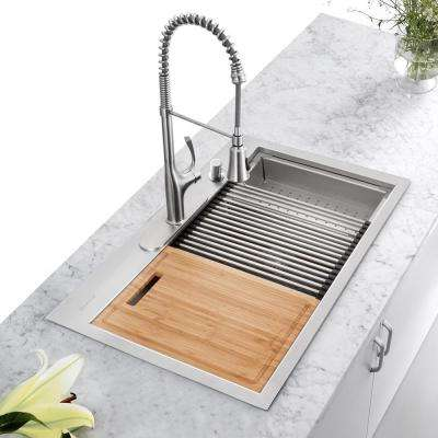 All-in-One Drop-In Stainless Steel 33 in. 4-Hole 50/50 Double Bowl Kitchen Workstation Sink with Accessories