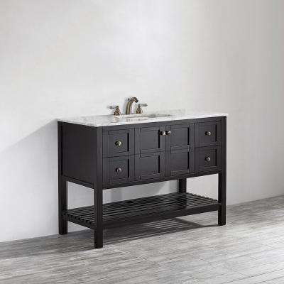 Florence 48 in. W x 22 in. D x 35 in. H Vanity in Espresso with Marble Vanity Top in White with Basin