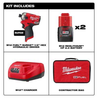 M12 FUEL SURGE 12-Volt Lithium-Ion Brushless Cordless 1/4 in. Hex Impact Driver Compact Kit w/(2) 2.0Ah Batteries, Bag