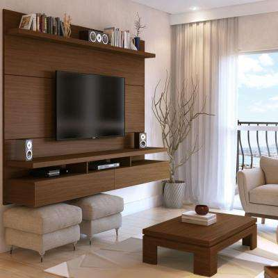 City 1.8 50-Disc Capacity Floating Wall Theater Entertainment Center in Nut Brown