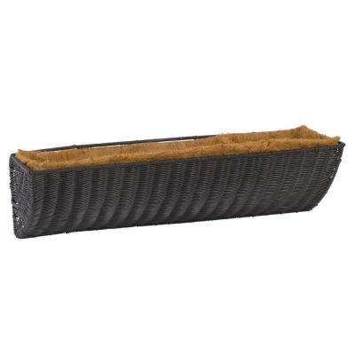 24 in. Antique Brown Resin Wicker Wall Basket