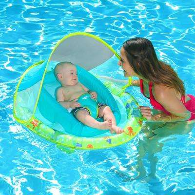 Green Nylon Oval Infant Spring Float Inflatable Swimming Pool Float with Canopy