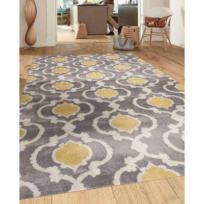 Moroccan Trellis Contemporary Gray/Yellow 7 ft. 10 in. x 10 ft. 2 in. Indoor Area Rug