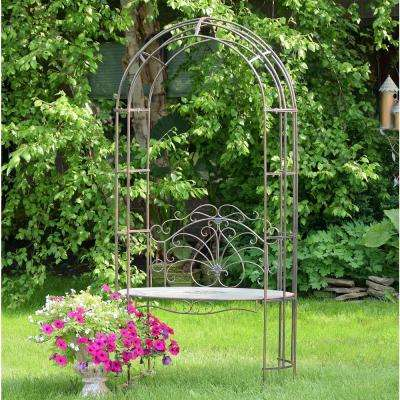 80 in. x 26 in. Iron Arbor Archway with Bench in Bronze