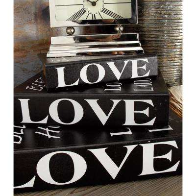 "Rectangular Wood and Faux Leather ""Love and Laughter"" Book Boxes (Set of 4)"