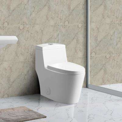 Skirted Modern Design 1-piece 1 Gallon Dual Flush High Efficiency Elongated One-Piece Toilet - Seat Included