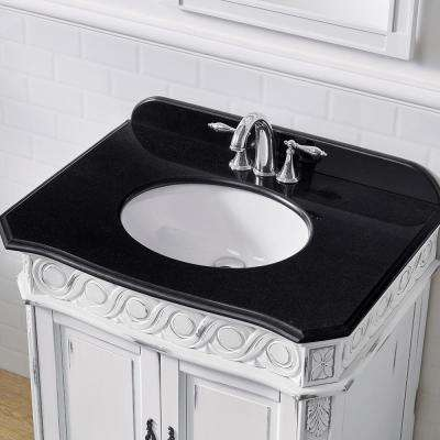 Trent 30 in. W x 22 in. D Bath Vanity in Antique White Gold Brush with Vanity Top in Black Granite with White Basin