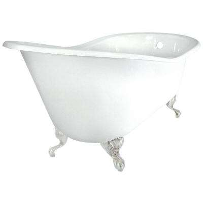 60 in. Slipper Cast Iron Tub Less Faucet Holes in White with Ball and Claw Feet in Satin Nickel