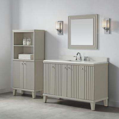 Parker 48 in. W x 22 in. D Vanity in Bedford Grey with Quartz Vanity Top in White with White Basin