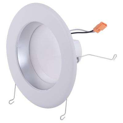 6 in. White Integrated LED Recessed Ceiling Light with Diffused Chrome Cone on Trim Ring, 3500K, 94 CRI