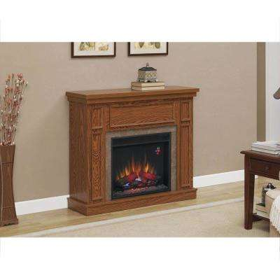 Granville 43 in. Convertible Media Console Electric Fireplace in Oak with Faux Stone Surround
