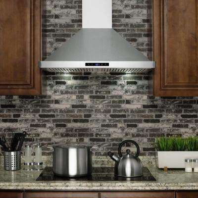 30 in. Convertible Kitchen Wall Mount Range Hood in Stainless Steel with LEDs and Touch Control