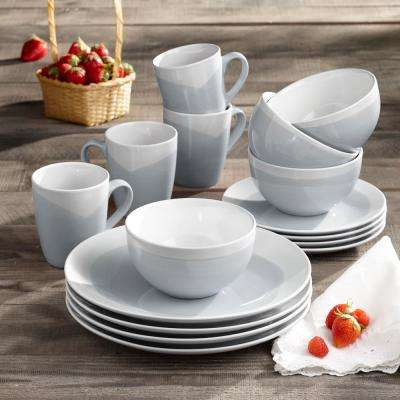 Oasis 16-Piece Casual Blue and Gray Earthenware Dinnerware Set (Service for 4)