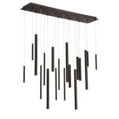 Santana Collection 18-Watt Black Integrated LED Linear Chandelier