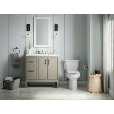 Rubicon 36 in. Bath Vanity Single Basin Vanity Top in Mohair Grey with White Basin