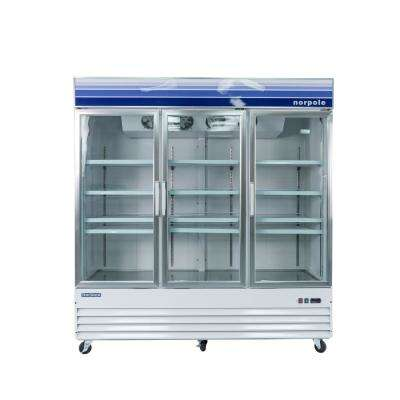 78 in. W 53 cu. ft. 3 Glass Door Reach-In Commercial Refrigerator in White
