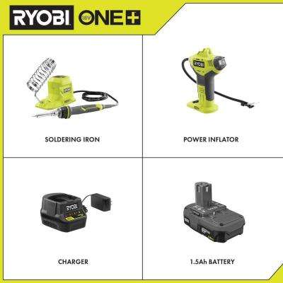 18-Volt ONE+ 40-Watt Soldering Iron (Tool-Only) and ONE+ Inflator Automotive Kit w/ 1.5 Ah Battery, and 18-Volt Charger