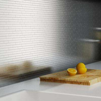 Linox Stainless Steel 12.09 in. x 11.97 in. x 5 mm Brushed Metal Self-Adhesive Wall Mosaic Tiles