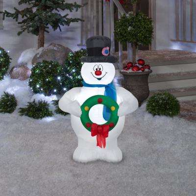 3.5 ft. Pre-Lit Inflatable Airblown Frosty the Snowman with Wreath