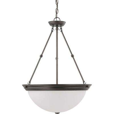 3-Light Mahogany Bronze Pendant with Frosted White Glass