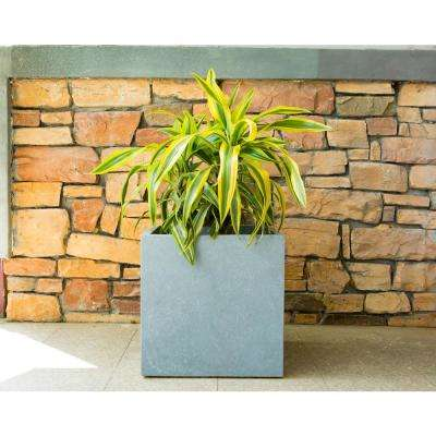 16 in. Tall Slate Gray Lightweight Concrete Square Modern Outdoor Planter