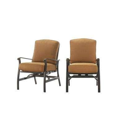Ridge Falls Dark Brown Aluminum Outdoor Patio Motion Lounge Chair with Sunbrella Canvas Cork Tan Cushions (2-Pack)