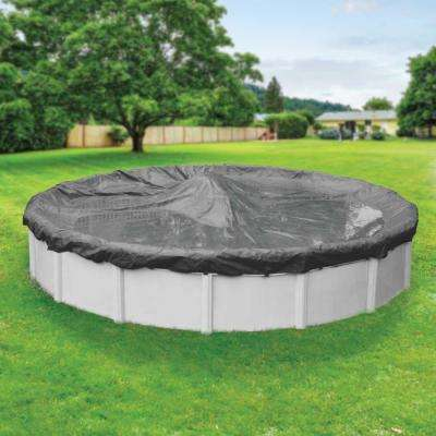 Professional-Grade Round Charcoal Winter Pool Cover