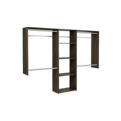14 in. D x 96 in. W x 72 in. H Espresso Essential Plus Wood Closet Kit