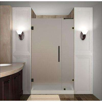 Nautis 30 in. x 72 in. Completely Frameless Hinged Shower Door with Frosted Glass in Oil Rubbed Bronze