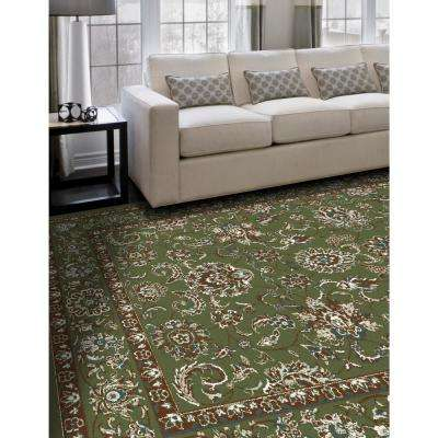 Arabella Traditional Border Green 8 ft. x 11 ft. Area Rug