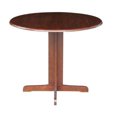 Dual Drop Leaf 36 in. Round Table in Espresso