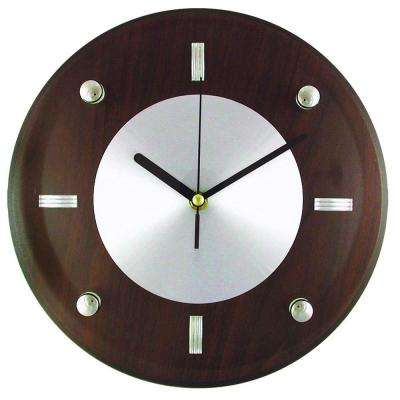 10-3/4 in. Glass and Brown Wood Wall Clock with Quartz Movement