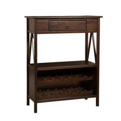 Titian Single Drawer 14-Bottle Wine Cart with Shelf in Antique Tobacco