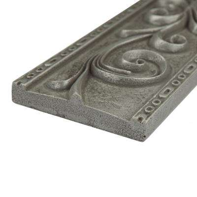 Contempo Pewter Scroll Liner 3 in. x 12 in. Mixed Material Wall Trim Tile
