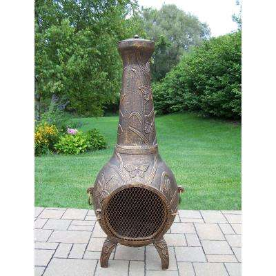 Butterfly Cast Metal 53 in. Tall Chimenea with Built-in Handles, Log Grate, Spark Guard Screen on Stack and Door