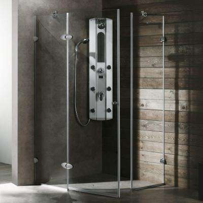 Verona 34.125 in. x 73.375 in. Frameless Neo-Angle Shower Enclosure in Chrome with Clear Glass