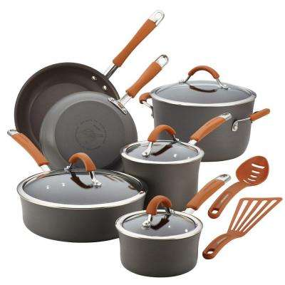 Cucina Hard-Anodized Nonstick 12-Piece Cookware Set in Gray with Handles in Pumpkin Orange