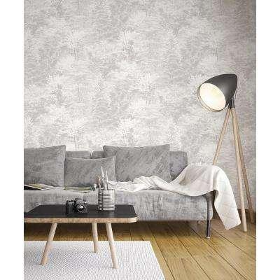 56.4 sq. ft. Camphor Light Grey Trees Wallpaper