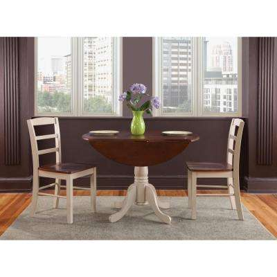 42 in. Round Dual Drop Leaf Pedestal Table in Almond and Espresso