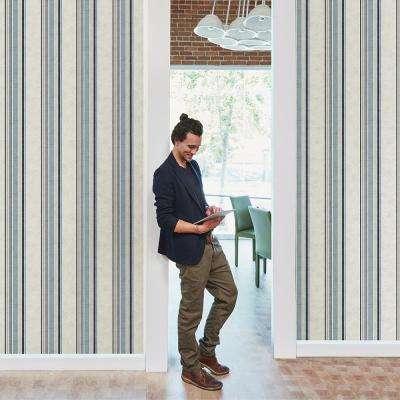 8 in. x 10 in. Hamilton Blue Stripe Wallpaper Sample